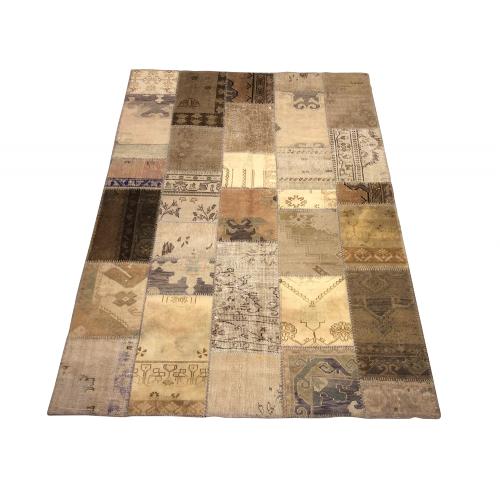 Beige Handmade Patchwork Carpet