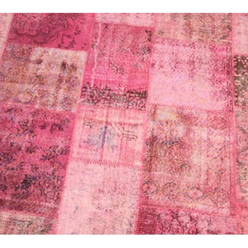 Pink Handmade Patchwork Carpet