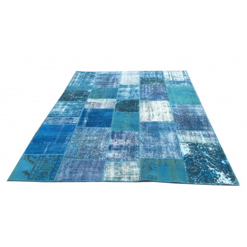 Blue Handmade Patchwork Carpet