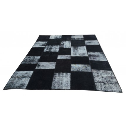 Black Handmade Patchwork Carpet