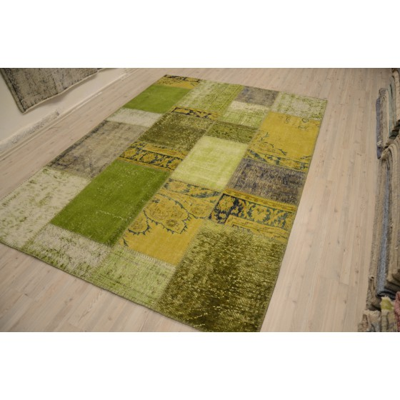 Green Handmade Patchwork Carpet