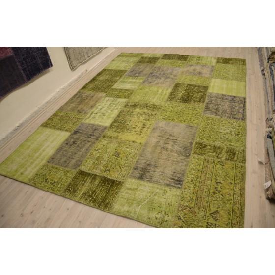 Green Handmade Patchwork Carpet