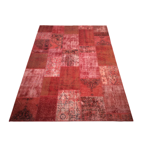 Red Handmade Patchwork Carpet