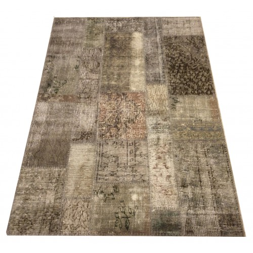 Beige and Grey Handmade Patchwork Carpet