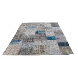 Blue and Grey Handmade Patchwork Carpet