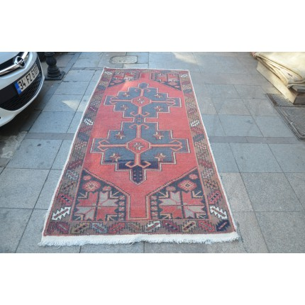 Red and Blue Faded Rug