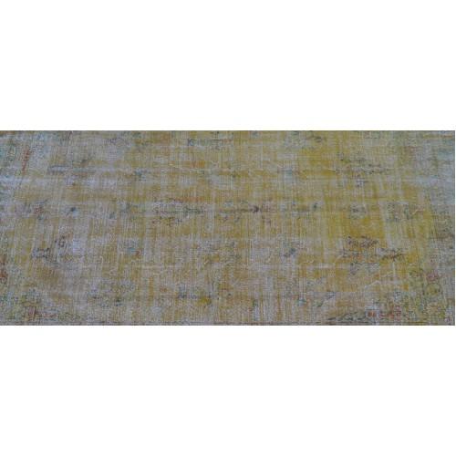 Yelow Handmade Vintage Overdyed Turkish Carpet