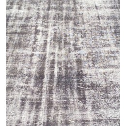 Black Handmade Vintage Overdyed Turkish Carpet