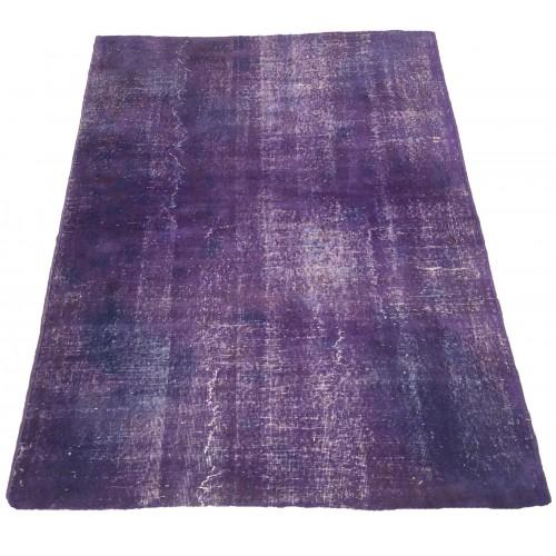 Purple Handmade Vintage Overdyed Turkish Carpet