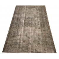 Grey Handmade Vintage Overdyed Turkish Carpet