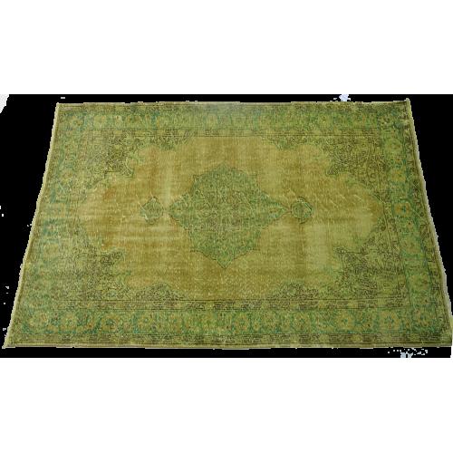 Yellow Handmade Vintage Overdyed Turkish Carpet