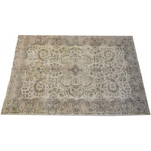 Grey Handmade Vintage Overdyed Turkish Carpet
