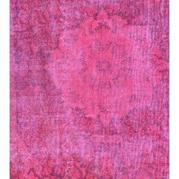 Pink Handmade Vintage Overdyed Turkish Carpet