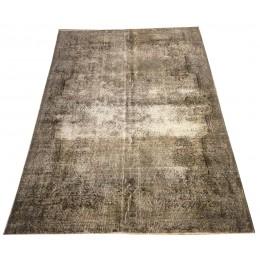 Beige Handmade Vintage Overdyed Turkish Carpet