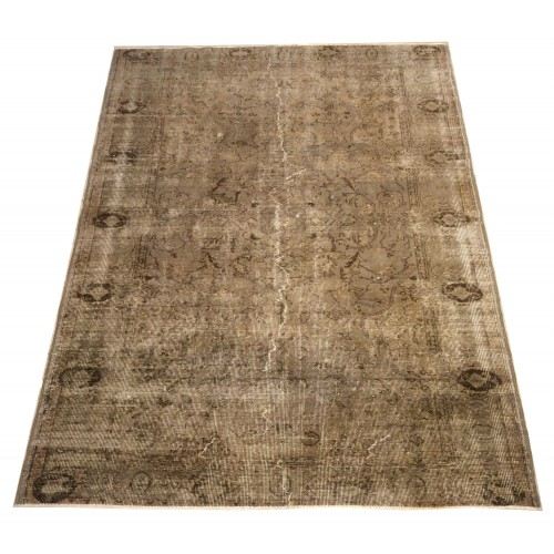 Beige Handmade Vintage Overdyed Turkish Carpet