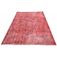 Red Handmade Vintage Overdyed Turkish Carpet