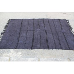 Black Stripe Hemp Rug
