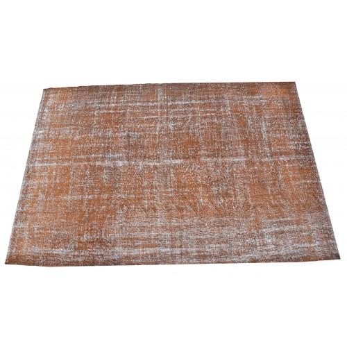 Orange Handmade Vintage Overdyed Turkish Carpet