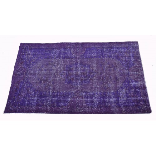 Purple Handmade Vintage Overdyed Turkish Carpet