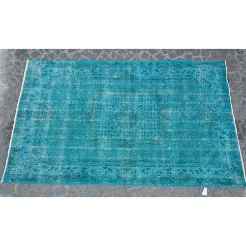 Green Handmade Vintage Overdyed Turkish Carpet