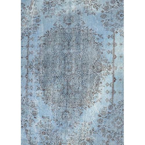 Blue Handmade Vintage Overdyed Turkish Carpet