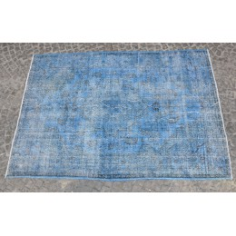 Blue Handmade Vintage Overdyed Turkish Carpet