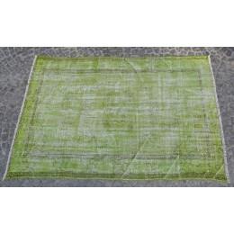 Green Handmade Vintage Overdyed Turkish Carpet