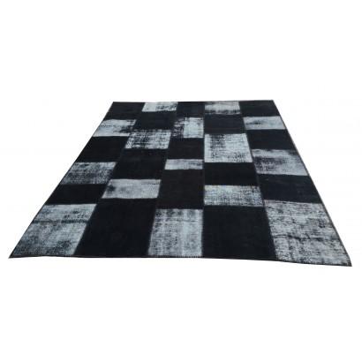 Black Handmade Patchwork Carpet