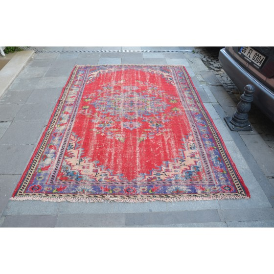 Red Faded Rug
