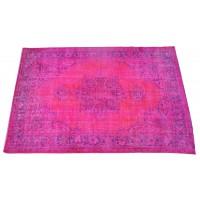Pink Handmade Vintage Overdyed Turkish Carpet